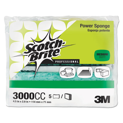 Scotch-Brite PROFESSIONAL Power Sponge, Teal, 2 4/5 x 4 1/2, 5/Pack