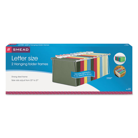 "Smead Steel Hanging Folder Drawer Frame, Letter Size, 23"" to 27"" Long, Gray, 2/Pack"