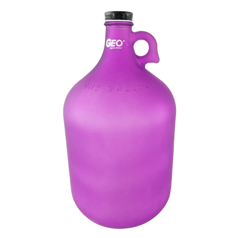 1 Gallon Glass Bottle with Ring Holder - Frost Purple - Purple / 1 Gallon / Glass