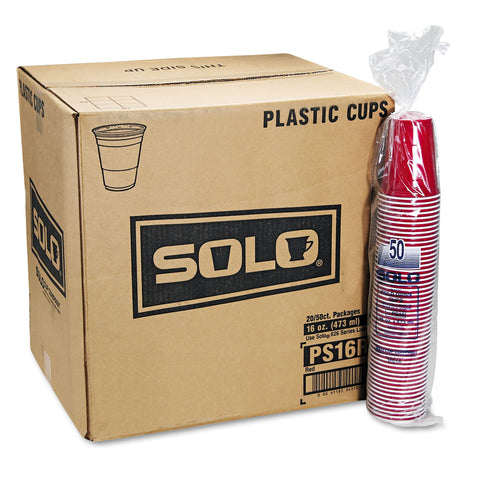 Dart Solo Plastic Party Cold Cups, 16oz, Red, 50/Bag, 20 Bags/Carton