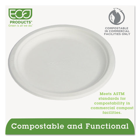 "Eco-Products Renewable & Compostable Sugarcane Plates, 9"", 500/Carton"