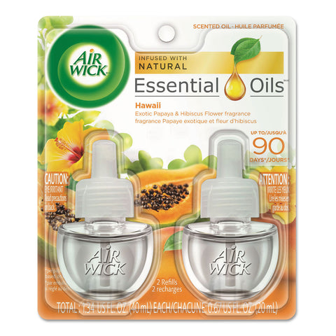 Air Wick Scented Oil Twin Refill, Hawai'i Exotic Papaya/Hibiscus Flower, 0.67 oz, 6/Carton - Clear