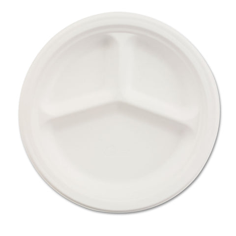 "Chinet Paper Dinnerware, 3-Comp Plate, 10 1/4"" dia, White, 500/Carton"