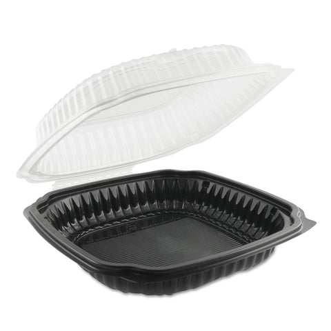 Anchor Packaging Culinary Classics Microwavable Container, 47.5 oz, Clear/Black, 100/Carton - Clear/Black