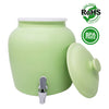 Premium Lead-Free Porcelain Beverage Dispenser With Matching Lid - 2.5 Gallons - Comes with Crock Ring Protector, No-Drip Chrome Painted BPA-Free Plastic Spigot Faucet and Lid - Matte Green