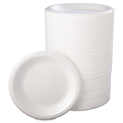 "Genpak Foam Dinnerware, Plate, 8 7/8"" dia, White, 125/Pack, 4 Packs/Carton"