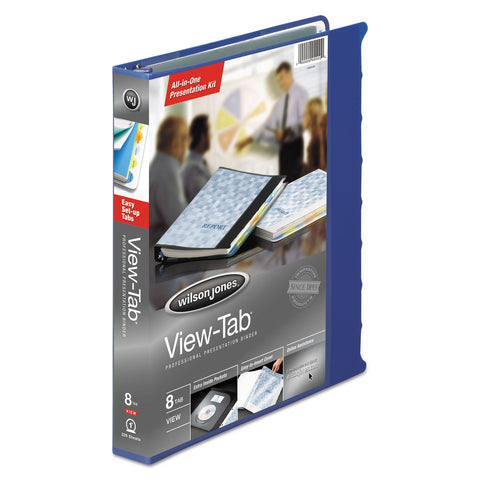 "Wilson Jones View-Tab Presentation Round Ring View Binder With Tabs, 3 Rings, 1"" Capacity, 11 x 8.5, Blue"