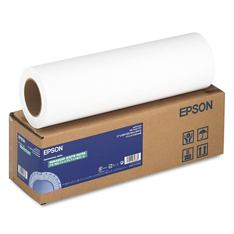 "Epson Enhanced Photo Paper Roll, 3"" Core, 17"" x 100 ft, Matte Bright White"