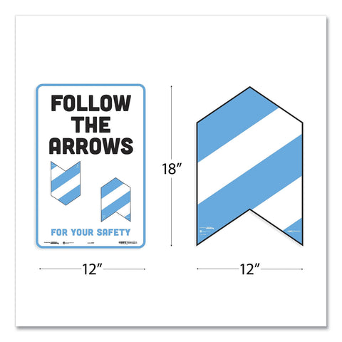 Tabbies BeSafe Messaging Education Floor Arrows and Wall Sign, Follow The Arrows For Your Safety, 12x18, White/Blue, 6 Arrows, 1 Sign