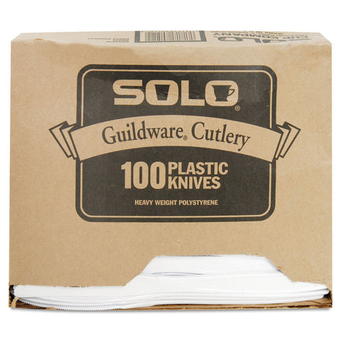 Guildware Extra Heavyweight Plastic Knives, White, 100/Box