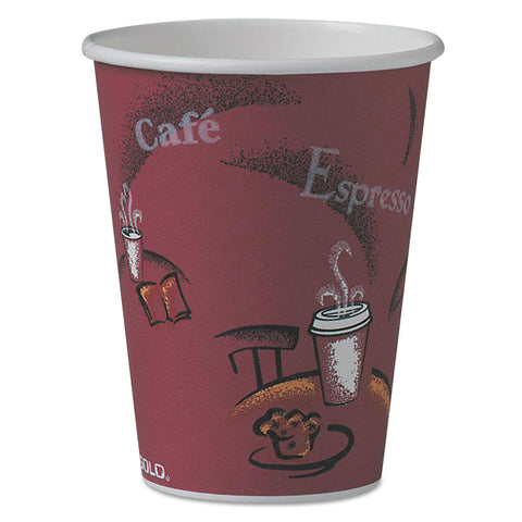 Dart Solo Bistro Design Hot Drink Cups, Paper, 12oz, Maroon, 50/Pack