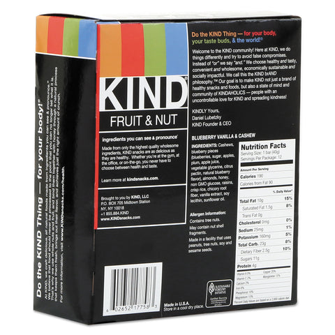 KIND Fruit and Nut Bars, Blueberry Vanilla and Cashew, 1.4 oz Bar, 12/Box