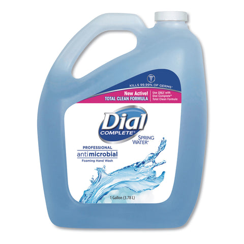 Dial Professional Antimicrobial Foaming Hand Wash, Spring Water, 1 gal Bottle, 4/Carton - Blue