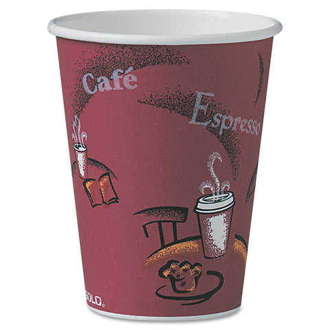 Dart Solo Bistro Design Hot Drink Cups, Paper, 12oz, 300/Carton - Maroon