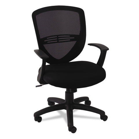 OIF Swivel/Tilt Mesh Mid-Back Task Chair, Supports up to 250 lbs., Black Seat/Black Back, Black Base - Black