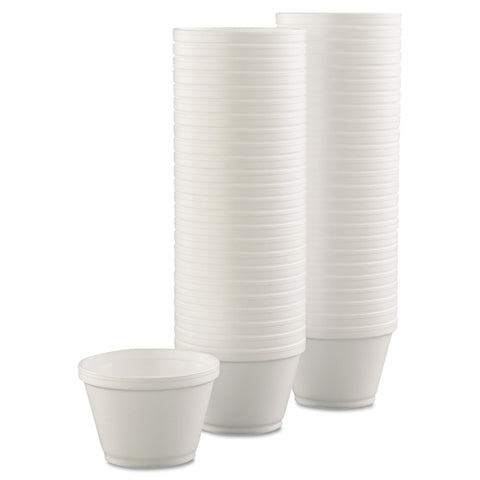 Dart Foam Containers, 6oz, White, 50/Bag, 20 Bags/Carton - White