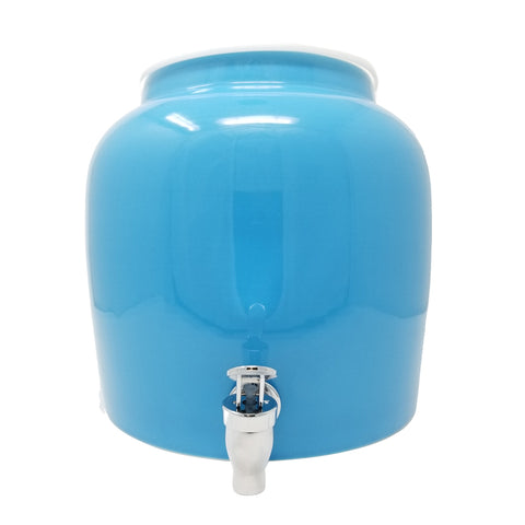 2.5 Gallon Porcelain Water Crock Dispenser With Crock Protector Ring and Faucet - Solid Baby Blue