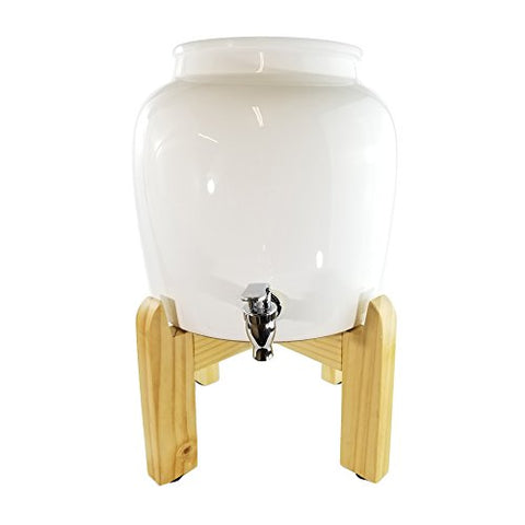 "Premium Solid White Porcelain Water Crock Dispenser & Wood Counter Stand Set - White / 8"" Natural Stand"