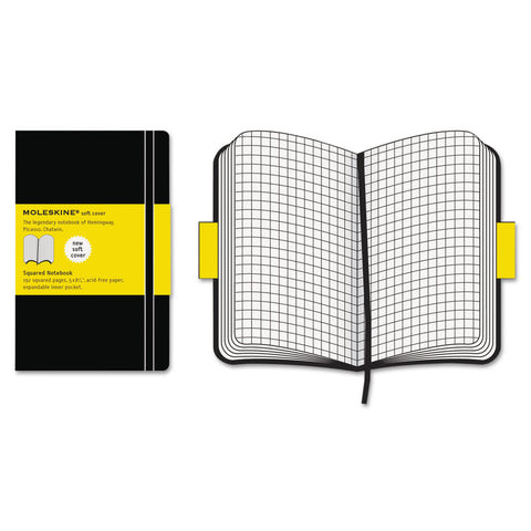 Moleskine Classic Softcover Notebook, 1 Subject, Quadrille Rule, Black Cover, 8.25 x 5, 192 Sheets