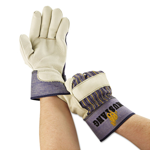 MCR Safety Mustang Leather Palm Gloves, Blue/Cream, Large, 12 Pairs