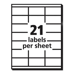 Avery Copier Mailing Labels, Copiers, 1.5 x 2.81, White, 21/Sheet, 100 Sheets/Box - White / 1.5 x 2.81