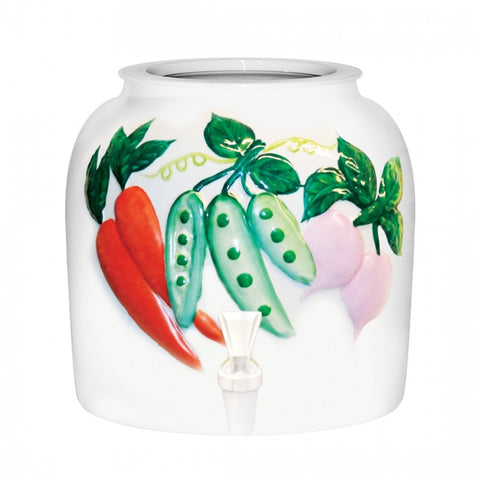 2.5 Gallon Porcelain Water Crock Dispenser With Crock Protector Ring and Faucet - Embossed Vegetable