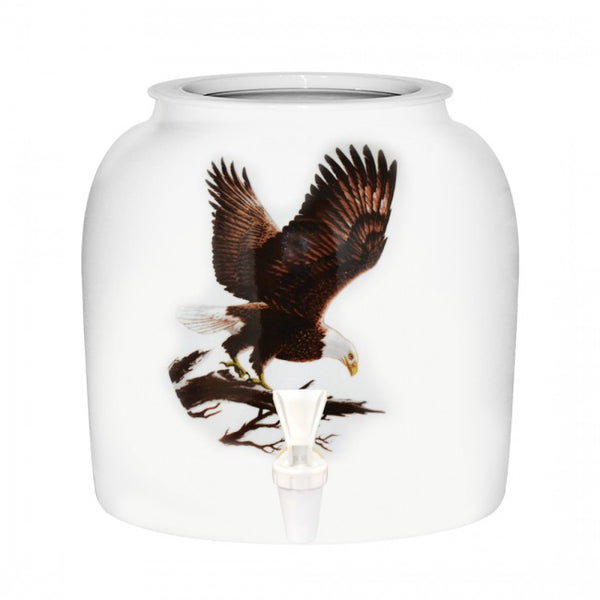 2.5 Gallon Porcelain Water Crock Dispenser With Crock Protector Ring and Faucet - Eagle