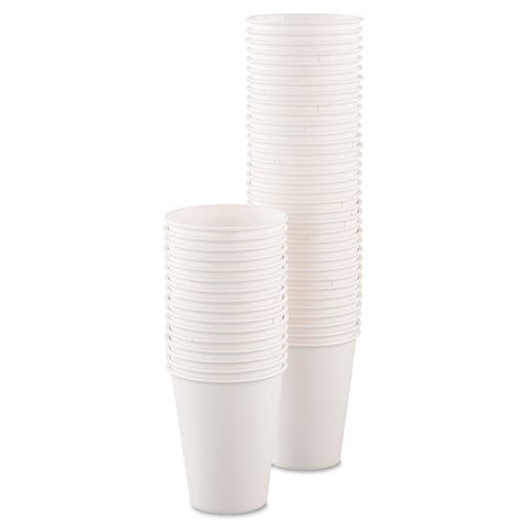 Dart Single-Sided Poly Paper Hot Cups, 8oz, White, 50/Bag, 20 Bags/Carton - White
