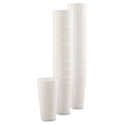 Drink Foam Cups, Hot/Cold, 24oz, White, 25/Bag, 20 Bags/Carton