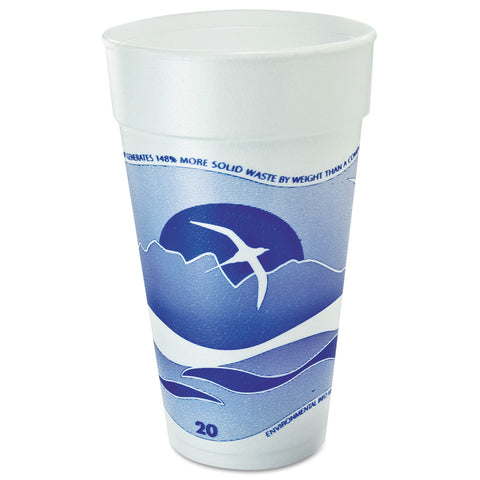 Dart Horizon Foam Cup, Hot/Cold, 20oz., Printed, Blueberry/White, 25/Bag, 20/CT - White/Blueberry