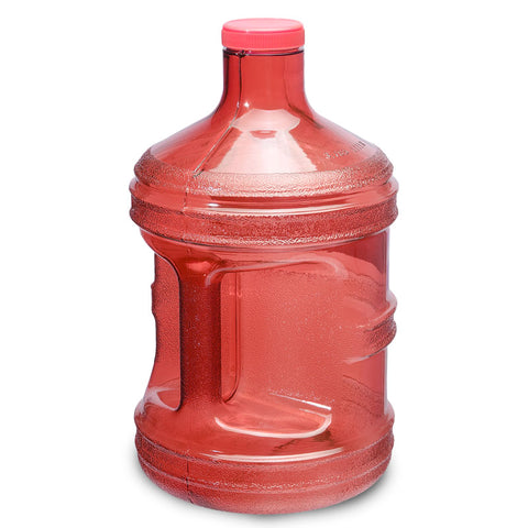 1 Gallon BPA Free Round Drinking Water Bottle - Red - Red / 1 Gallon / BPA Free Plastic
