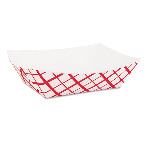 SCT Paper Food Baskets, 1lb, Red/White, 1000/Carton