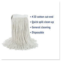 Boardwalk Cut-End Wet Mop Head, Cotton, No. 20, White