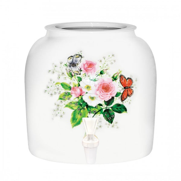 2.5 Gallon Porcelain Water Crock Dispenser With Crock Protector Ring and Faucet - Pink Roses