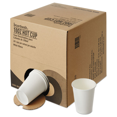 Convenience Pack Paper Hot Cups, 10 oz, White, 261/Carton