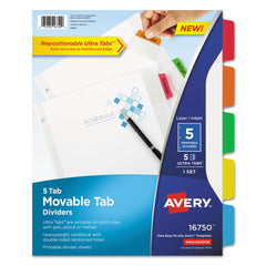 Avery Movable Tab Dividers with Color Tabs, 5-Tab, 11 x 8.5, White, 1 Set