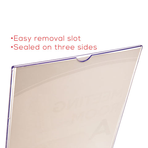 deflecto Superior Image Slanted Sign Holder with Front Pocket, 9w x 4.5d x 10.75h, Clear