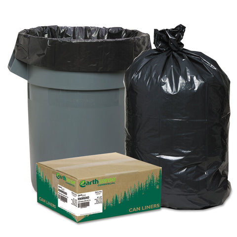 "Earthsense Commercial Linear Low Density Recycled Can Liners, 60 gal, 1.65 mil, 38"" x 58"", Black, 100/Carton"