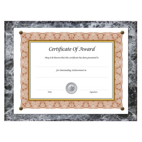 NuDell Award-A-Plaque Document Holder, Acrylic/Plastic, 10-1/2 x 13, Black - Black Marble / 8 1/2 x 11