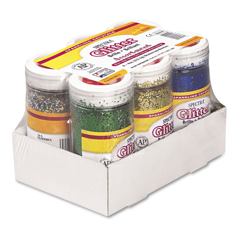 Pacon Spectra Glitter, .04 Hexagon Crystals, Assorted, 4 oz Shaker-Top Jar, 6/Pack