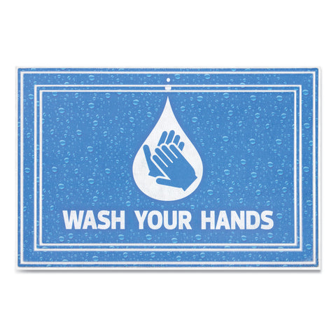 "Apache Mills Message Floor Mats, 24 x 36, Blue, ""Wash Your Hands"""