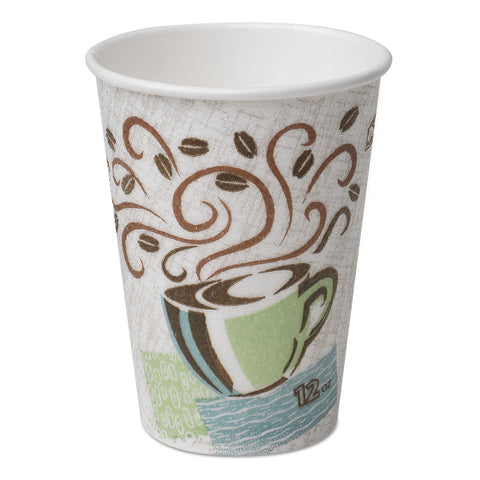 Dixie Hot Cups, Paper, 12oz, Coffee Dreams Design, 50/Pack - Multicolor