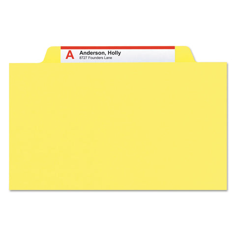 Smead Colored Top Tab Classification Folders, 1 Divider, Letter Size, Yellow, 10/Box - Yellow / Letter