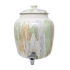 2.5 Gallon Porcelain Crock With Matching Lid, Ring and Faucet- Pastel Paint Stroke