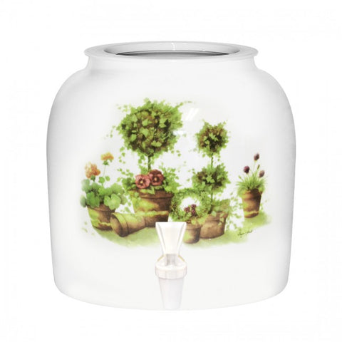 2.5 Gallon Porcelain Water Crock Dispenser With Crock Protector Ring and Faucet - Topiary