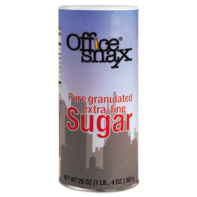 Office Snax Reclosable Canister of Sugar, 20oz, 24/Carton
