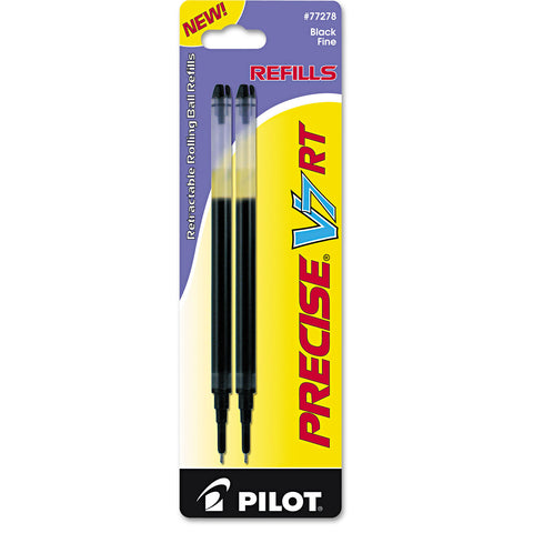 Pilot Refill for Pilot Precise V7 RT Rolling Ball, Fine Point, Black Ink, 2/Pack