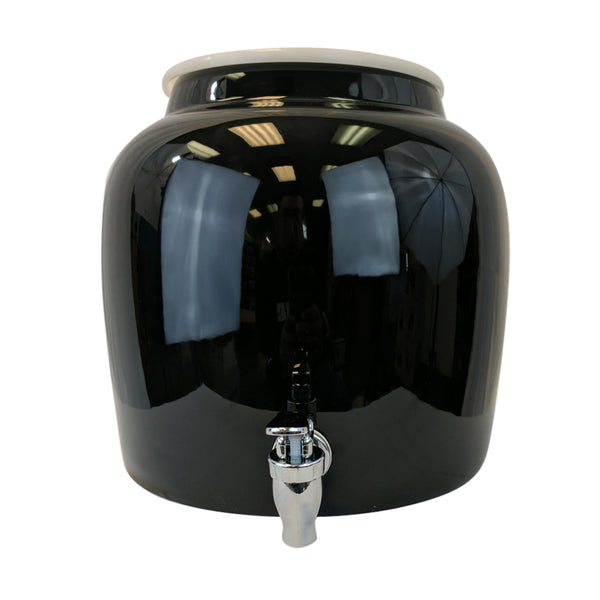 2.5 Gallon Porcelain Water Crock Dispenser With Crock Protector Ring and Faucet - Solid Black