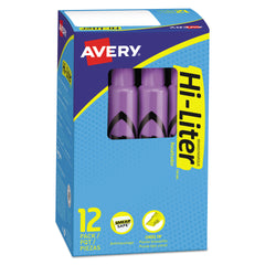 Avery HI-LITER Desk-Style Highlighters, Chisel Tip, Fluorescent Purple, Dozen