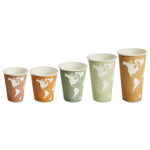 Eco-Products World Art Renewable/Compostable Hot Cups, 8 oz, Plum, 50/Pack